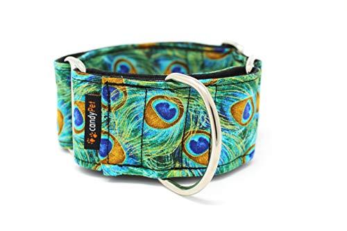candyPet Collar Martingale para Perros-Modelo Peacock, S: Ancho 4 cm (30-40cm diámetro)
