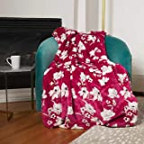 Plush Throw Blanket with Foot Pocket 60 x 70 inches Super Soft Dark Pink and White Floral Print