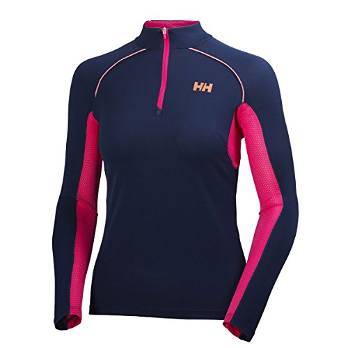Helly Hansen Enroute T-Shirt Manches Longues 1/2 Zip Femme, Evening Blue, FR : S (Taille Fabricant : S)