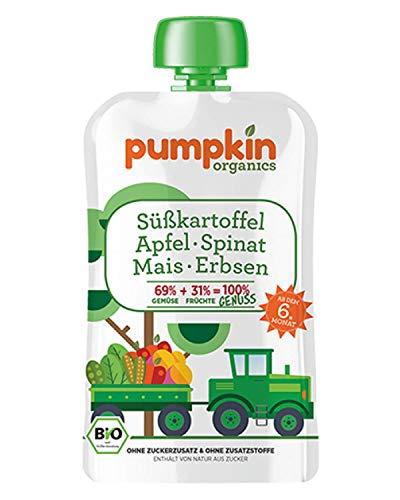 Pumpkin Organics GENUSS | Bio Gemüse-Quetschie aus Süßkartoffel, Spinat, Mais, Erbsen und Apfel (8 x 100g) I Babynahrung ab dem 6. Monat
