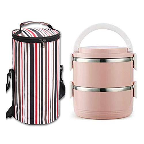 LG&S Edelstahl-Bento-Box, 2 stapelbare auslaufsichere, isolierte Brotdosen mit Tasche für Kinder Erwachsene BPA-frei,Rosa