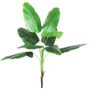 Artificial Plant 32″ Bird of Paradise Leaves Fake Tropical Palm Leaf Greenery for Indoor Outdoor Party Flowers Arrangement Home Room Garden Office Decor