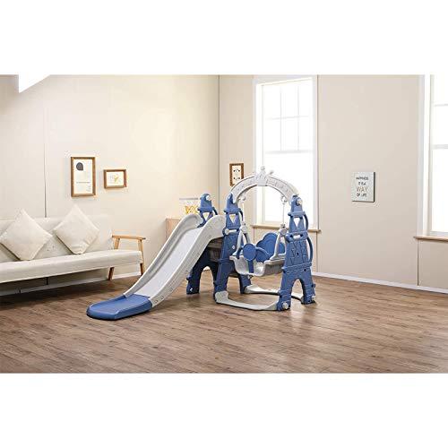 Muyuuu Juego de columpios y toboganes multifuncionales de plástico para niños, 3 en 1, juego de niños, escalador, combinación de tobogán, aro de baloncesto, fácil de subir escaleras, juego para interi