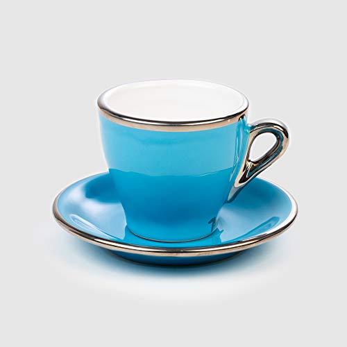 Cappuccino Tasse Blau Terra Keramik