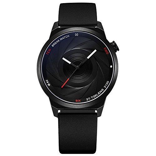 BREAK Einzigartige Herrenuhr, Fotograf Serie wasserdicht Quarzuhr, schwarz analoge Uhr für Casual Business Anlass, einfache Sportuhr mit Geschenk-Box