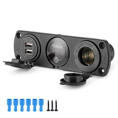 USBパネルソケット、3穴スイッチパネルデュアルUSBLEDデジタル電圧計シガレットライター充電器車用