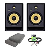 KRK Rokit RP8 G4 Professional Active Powered DJ Studio Monitor Speakers with Isolation Pads & Cable