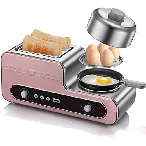 Zavddy Tostador Pequeño hogar Multifuncional Tostadora Máquina de Acero Inoxidable a la Parrilla de la máquina Sandwich Estilo Retro Tostadora del Pan (Color : Pink, Size : 420x185x185mm)