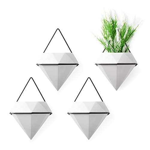 T4U Diamond Wall Planter Indoor, Set of 4 Geometric Wall Mounted Plant Holder Vase, Ceramic Succulent Air Plant Flower Pots Cactus Faux Plants Containers, White Modern Decor for Home and Office