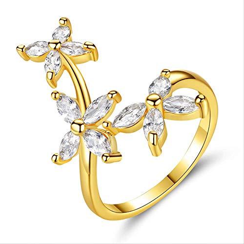 IWINO Bloem Goud Kleur Ring Voor Dames Mode Strass Sieraden Verlovingsring Goud Kleur Voor Dames Maat 6-9