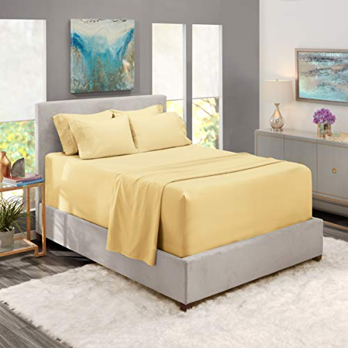 Nestl Bedding Extra Deep Pocket Sheets –California King Sized Deep Bed Sheet Set – Super Deep Pocket Sheets- 72 in x 84 in Deep Pocket Fitted Sheet Set 6pc – Vanilla Yellow.