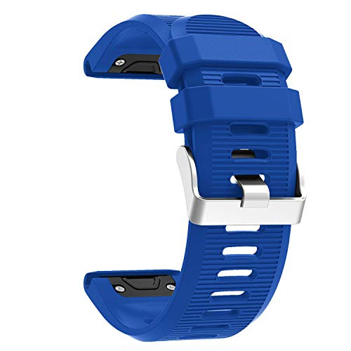 Compatible with Garmin Fenix 6X Pro Watch Bands for Women Men, Fenix 5X Plus Band, 26mm Easy Fit Silicone Replacement Bands Straps Wristbands Bracelet for Fenix 3 HR Blue Navy Green