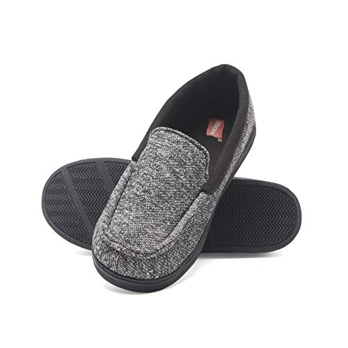 Hanes Boy's Slipper Moccasin House Shoe with Indoor Outdoor Memory Foam Sole Fresh IQ Odor Protection (Medium,Black)