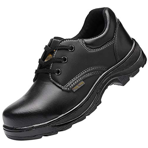 RQWEIN Unisex Work Steel Toe Shoes Slip Resistant Industrial&Construction Construction Boot Puncture Proof Safety Shoes(Black,8)