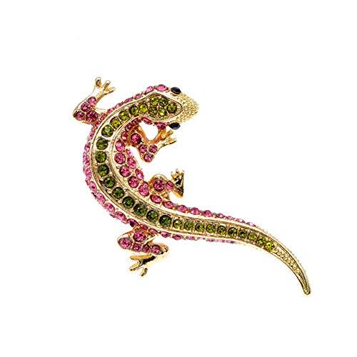 Gosmos de lagarto Rhinestone para mujeres animal diseño Gecko Pin moda joyería verano estilo broche