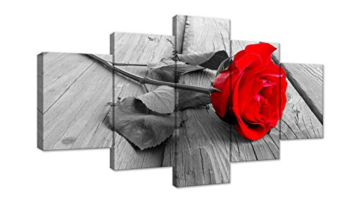 Red Rose Flower on Grey Wooden Board 5 Panel Modern Home Decorative Painting Canvas Wall Art for Living Room Bedroom Bathroom Stretched and Framed Ready to Hang