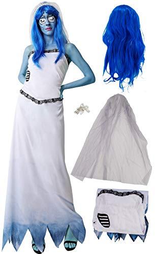 Gojoy Shop - Disfraz de Novia Cadaver para Adulto Carnaval Halloween (TALLA NICA, Contiene Vestido, Velo, Tirante y Peluca)