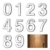 Números de buzón 3D 10 piezas MEZOOM Pegatinas Números de Dirección de Calle Plateados 0-9 Números de casa Autoadhesivos Números de puerta reflectantes para casa Señales de aula de calle