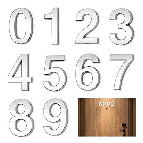 MEZOOM 3D Adhésif Numéro de Porte de Maison Moderne 0 à 9 Numéro de Rue d'Adresse Design Argenté Brillant Numéros de Boîte aux Lettres pour Bureau Chambres Hôtel Appartements