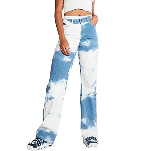 SCYDAO Pantaloni da Donna Casual Tie-Dye Jeans Elasticità Pantaloni Denim Straight Jean,Blu,XXL
