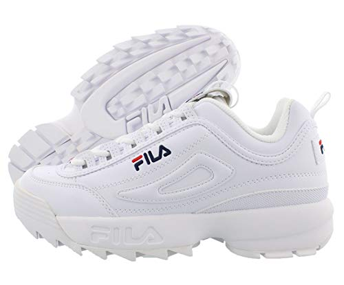 Fila Disruptor II FW02945-111 Leather Youth Trainers - White Peacoat Red - 38.5