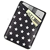 Ac.y.c Phone Card Holder, Ultra Thin PU Leather 3M Adhesive Stick-on ID Credit Card Wallet Sticker Case Pouch Pocket for Back of iPhone,Android and Smartphones (Star)