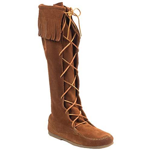 Minnetonka Women's Front Lace Knee Hi Boot, Brown, 12