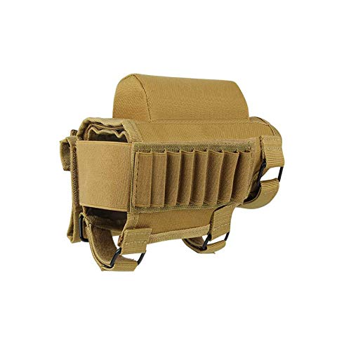 AIRSSON Tactical Rifle Cheek Rest Holder with 2 Molle Pouch for 8 Grid Shells and 2 Different Heights Cheek Leather Pad .22 .223 Cal .308 30-06 .300 .303 & 7.62mm