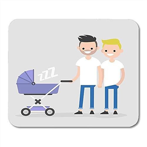 Cartoon Homosexuell Familie zu Fuß mit Kinderwagen LGBT Väter Homosexuelles Paar mit Kind Flat Clip Adult Premium Fashion Rutschfeste Gaming Pads 22cmx18cm