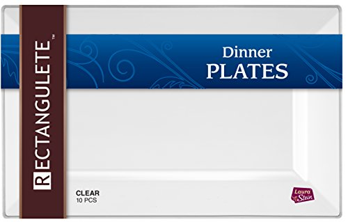 [10 Count - 13.5 Inch Plates] Rectangulete Designer Tableware Premium Heavyweight Plastic Clear Rectangle Dinner Plates With Border, Party & Wedding, Event Plate, Disposable Dishes