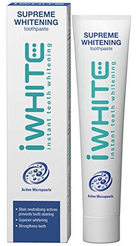 iWhite Supreme Whitening Zahnpasta - Aktive Zahnaufhellung - Zahnschmelzwiederherstellung - Zähne Remineralisieren - Stärkt und schützt - Erfrischt den Atem - Aktive Mikroperlen
