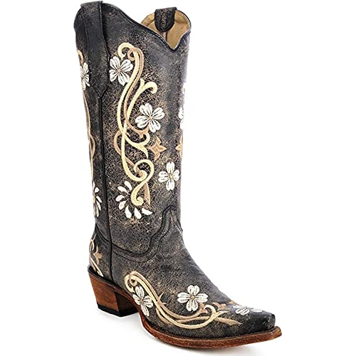 CORRAL BOOTS Women's Circle G L5175 Multi-Colored Embroidered Leather Cowgirl Boots, Black, 9 Medium