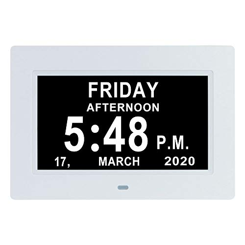 7 Inch Digital Calendar Day Date Clock-12 Alarm Options with Auto-Dimming,Extra Large Non-Abbreviated Day&Month Memory Loss Clock for Seniors,Dementia,Impaired Vision (White)
