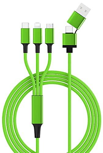 5 in 1 Multi USB-Ladekabel mit USB, USB-C und Micro-USB, USB-C und 120 cm lang, Nylon und Aluminium, ultra robust (1 Stück, grün)