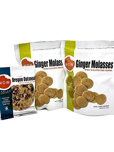 Wow Baking Company Cookie Bundle - 2 - 8oz. Bags of Cookies and 1 Big 2.75oz. Cookie - All Gluten Free - Natural Ingredients (Ginger 2 Bags & 1 Big Oatmeal)