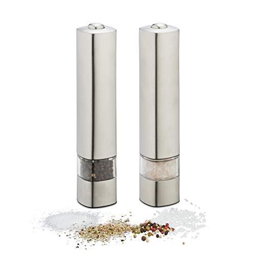 Relaxdays Pfeffermühlen elektrisch, 2er Set, Edelstahl, Gewürzmühlen mit Batterie, Salz & Pfeffer, HxD 21x4,5 cm, silber