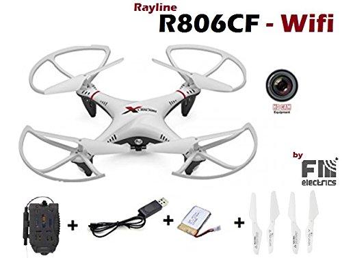 Rayline R806w CF mit W LAN, FPV Version UFO, Coming Home Funktion, Super Eigenstabil, Stabiles Chassis, Drohne Quadrocopter mit Kamera und Fernbedienung, weiß/schwarz