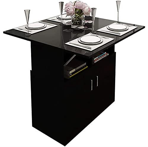 HMBB Mesa de comedor plegable, escritorio plegable con gabinetes y 4 ruedas for habitación pequeña, mesas de hojas de gota for cocina/sala de estar/dormitorio, marrón y blanco (Color : Black)