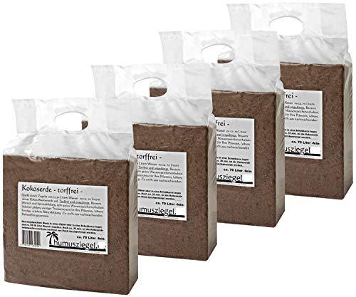 Humusziegel - 4 x 70 Liter Kokoserde - Blumenerde aus Kokosfaser - Kokosblumenerde