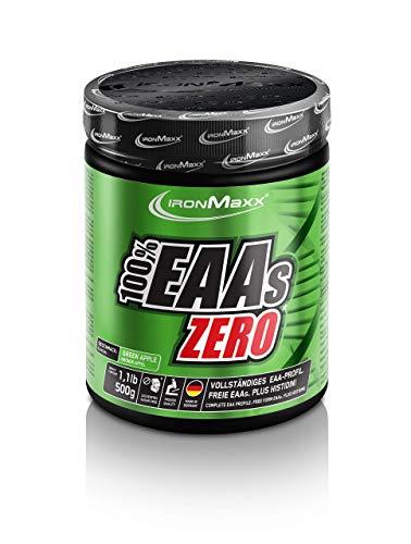 IronMaxx 100% EAAs Zero, Apfel - 500g Pulver -33 Portionen - Hochkonzentriertes Aminosäuren-Pulver - Alle 8 essentiellen Aminosäuren, Histidin & alle 3 BCAAs - Protein-Quelle - Designed in Germany