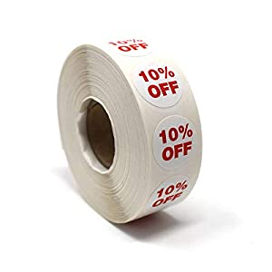 3/4″ Round Self-Adhesive Sale Labels – 50% Off, 40% Off, 30% Off, 20% Off, or 10% Off Retail Sticker Tags
