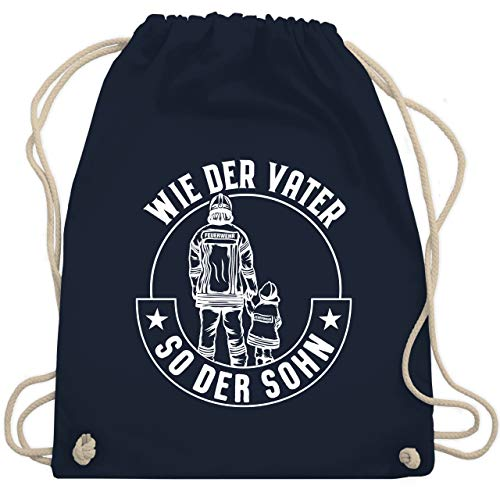 Shirtracer Feuerwehr - Wie der Vater so der Sohn Feuerwehr Weiß - Unisize - Navy Blau - Fun - WM110 - Turnbeutel und Stoffbeutel aus Baumwolle