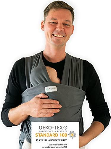 Tragetuch von Hebamme - Kindertragetuch - Babytragetuch - Baby Sling Carrier für Neugeborene bis 15 kg - Babytuch 5m lang - inklusive Aufbewahrungsbeutel & Bindeanleitung (Dunkelgrau)