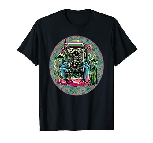 Doppelobjektiv-Reflexkamera. T-Shirt