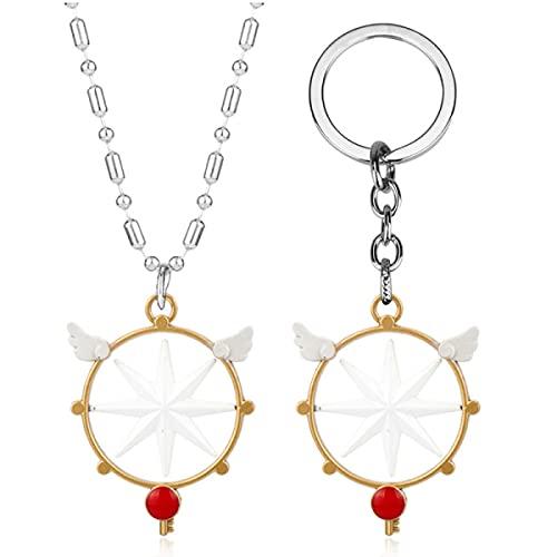 OUHZNUX Card Captor Sa-kura Cosplay Collar Llavero Juego de 2 Piezas, Star Wing Key Varita mágica, Anime Llavero Colgante Cadena Colgante Combinación