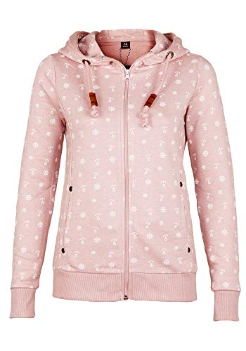 SUBLEVEL Damen Sweathoodie mit allover Anker Steuerrad Print (M, light rose)