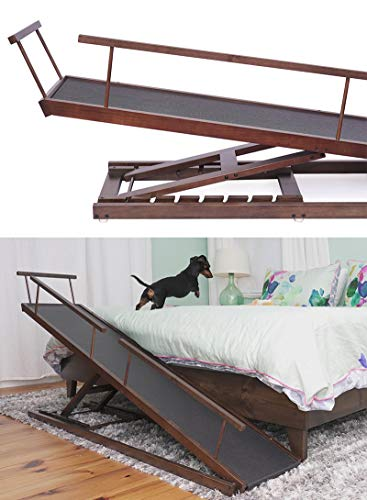 DoggoRamps Bed Ramp for Small Dogs, Adjustable Height for Even The Tallest Beds, with Safety Railings and Anti-Slip Surface. for Dogs up to 40lbs (Walnut)