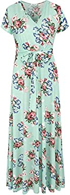 Aphratti Women's Bohemian Casual Short Sleeve V Neck Faux Wrap Floral Maxi Dress