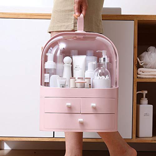 Ihuiniya Large Cosmetics Organizer Box,Cosmetics storage display rack with drawer,Waterproof, dustproof, elegant display cabinet,Suitable for bathroom countertop, bedroom dresser (Pink)