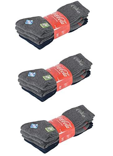 Coca-Cola 10/15/20 Paar Herren/Damen Sportsocken, in Schwarz, Blau/Grau, Weiß mit Sanitized Ausstattung - wirksam gegen Geruch und Bakterien in 35-40/41-45/46-50 (41-45, 15 Paar Blau/Grau)